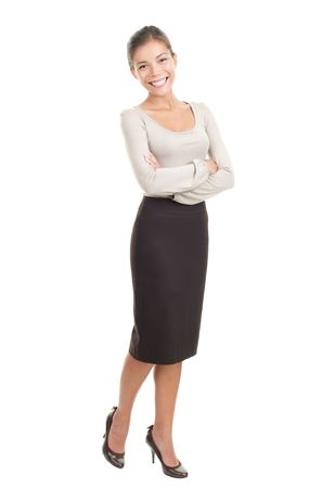 secretary skirt: Portrait of beautiful young asian businesswoman in her twenties. Isolated in full length on white background. Mixed caucasian  chinese model.
