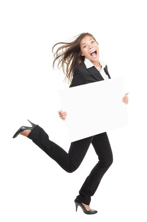 Funny businesswoman running with billboard sign photo