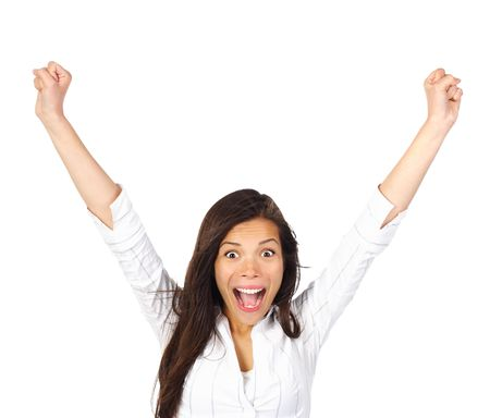 Ecstatic! Very happy and ecstatic winner of something. Isolated on white background. Stock Photo - 6538246