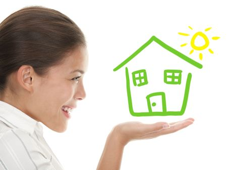 Happy house buyer  owner concept or woman dreaming of a house. Illustration and photo composit. Mixed chinese caucasian woman in profile isolated on white background.