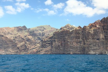 giants: Tenerife - The Cliffs of Los Gigantes. View of the famous tourist attraction on Tenerife: Los Gigantes, the Giants. Stock Photo