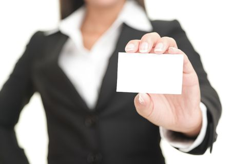 Businesswoman showing and handing a blank business card. Business woman in black suit Isolated on white background.  photo