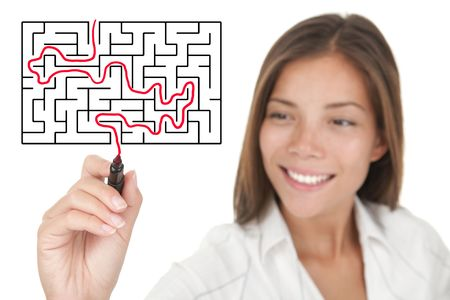 creative goal: Businesswoman solving maze  labyrinth problem. Stock Photo