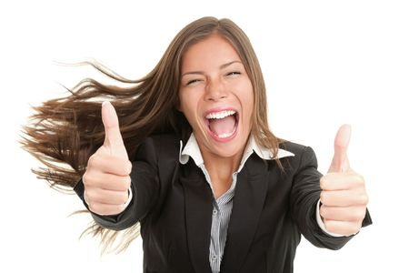 excited business woman: Success woman excited giving thumbs up. Young smiling mixed Chinese Asian  Caucasian businesswoman. Isolated on white background