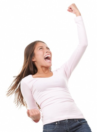 joyfull: Winning success woman in full length cheering and screaming of joy. Casual young mixed race chinese  caucasian isolated in full body on white background.