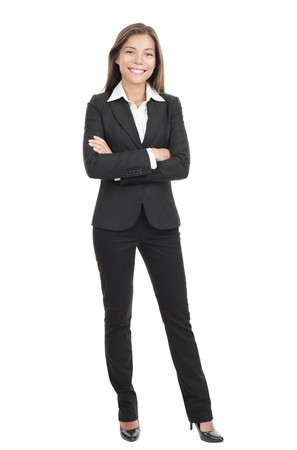 Business woman standing in full length isolated on white background. Beautiful mixed race Chinese Asian-Caucasian young female mode in suit.  photo
