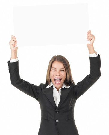 holding head: Businesswoman holding sign over her head excited - isolated on white background.  Stock Photo