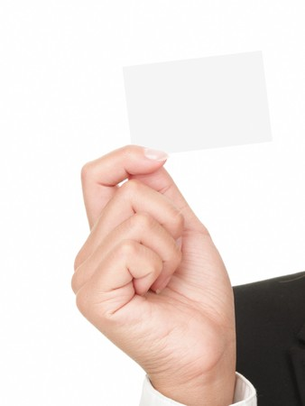 businesswoman card: Closeup of business card in hand of woman - isolated on white background. Stock Photo