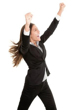 Businesswoman celebrating success isolated on white background. Stock Photo - 7351007