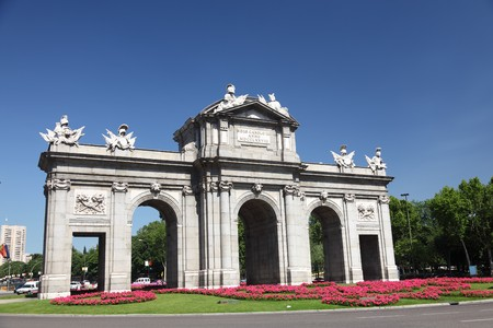 Madrid, Spain. Plaza de la Independencia, puerta de Alaca, famous tourist attraction. photo