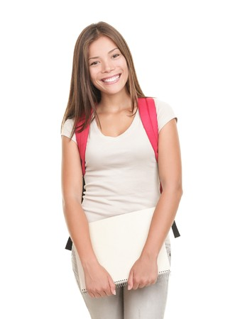 Student. Female college university student isolated on white background. Smiling friendly to the camera, wearing a red school bag and holding note books.  Stock Photo - 7439026