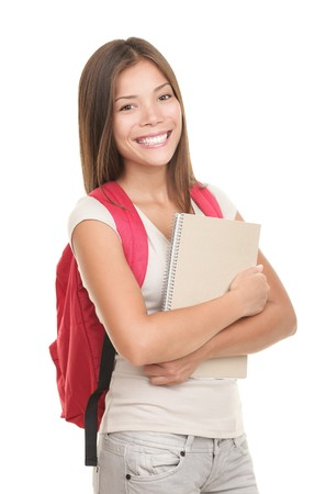 etudiant livre: Universitaire f�minin isol� sur fond blanc. Young mixte mod�le femme asiatique  caucasien.