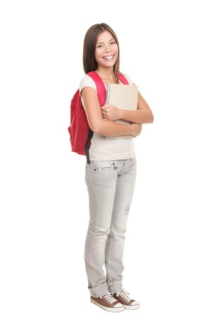 Female college university student standing isolated on white background in full length Stock Photo