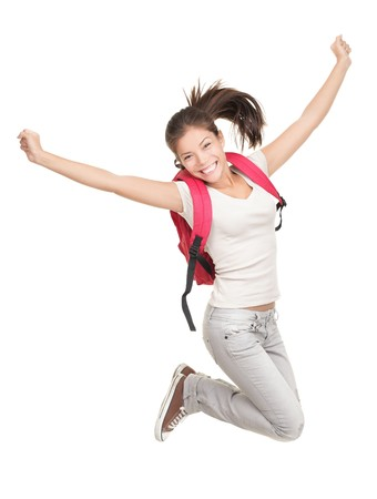 Jumping female college  university student isolated on white background. Young woman Asian Caucasian students. photo