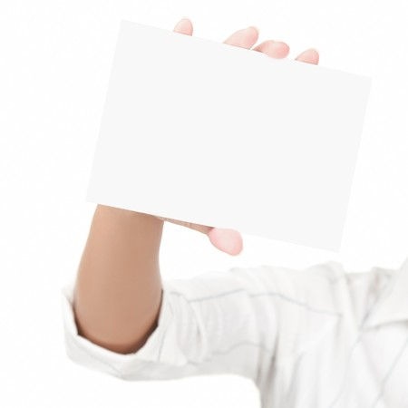 Empty blank sign isolated on white background, Female hand holding the card with copy space. photo
