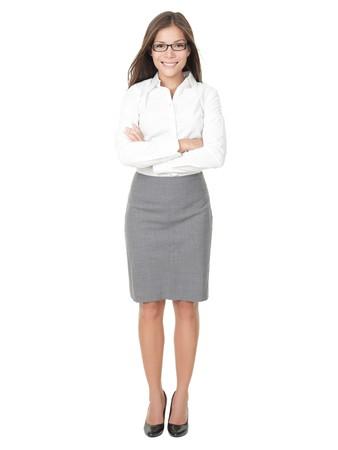 falda: Joven profesional. Asia China  blanco del Cáucaso empresaria aislada sobre fondo blanco en todo el cuerpo.