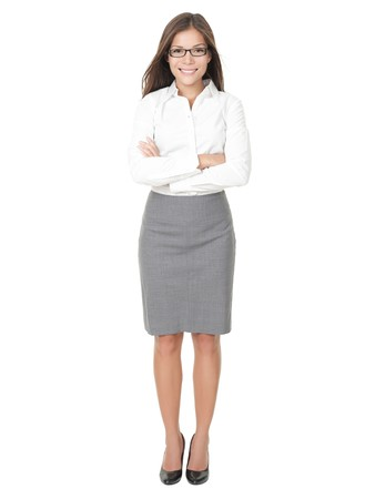 casual business: Young professional woman. Asian Chinese  white Caucasian businesswoman isolated on white background in full body. Stock Photo