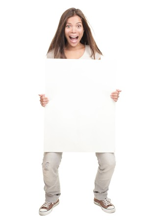 girl holding sign: Sign woman - funny and excited woman holding big empty billboard sign. Isolated on white in full body. Beautiful Chinese  white Caucasian young woman.