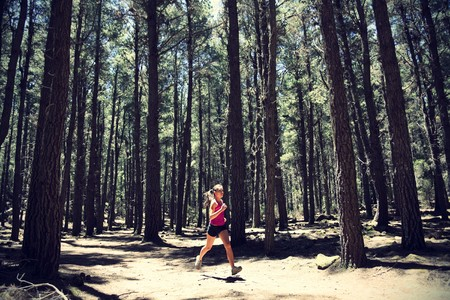 Running woman. Female runner running in forest. Beautiful Asian / Caucasian woman athlete jogging outdoors in beautiful forest with lots of mood / atmosphere and copy space.  스톡 콘텐츠