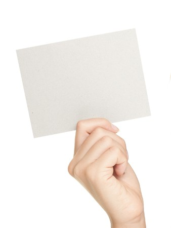 Hand showing sign. Woman hand showing blank gift card sign with empty copy space. Isolated on white background. Stock Photo - 7755968