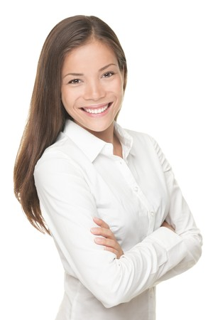 business shirt: Beautiful young asian businesswoman portrait posing on isolated white background. Stock Photo