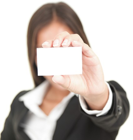 business person showing business card. Isolated on white background photo