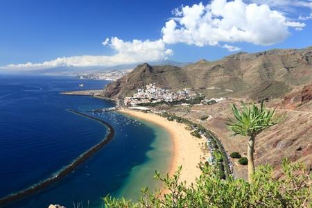 santa cruz de tenerife: Tenerife. The beach of Teresitas (playa de las Teresitas) and San Andres,  Santa Cruz de Tenerife, The Canary Islands.