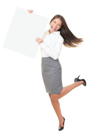businesswoman card: Funny happy sign person moving showing blank whiteboard sign. Asian  Caucasian woman excited. Isolated on white background in full length.