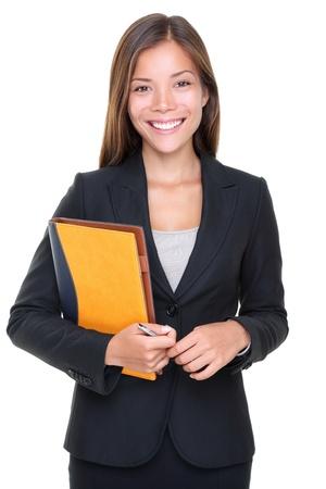 Mooie Aziatische onroerende goederenagent zakenvrouw taille geïsoleerd op witte achtergrond. Stockfoto