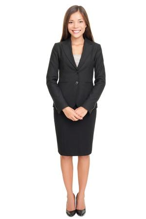 mujer cuerpo completo: Permanente de todo el cuerpo de mujer de negocios aislado en fondo blanco con espacio de copia. Foto de archivo