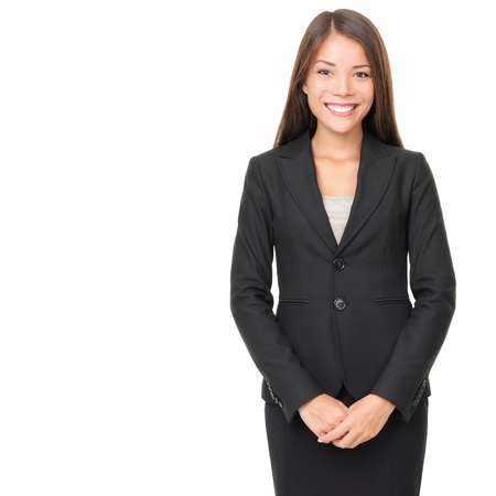 spokesperson: Businesswoman isolated on white background. Young smiling Asian  Caucasian business woman in suit standing looking at camera
