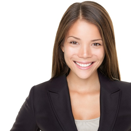 professionals: Young asian businesswoman portrait over white. Multiracial Asian  Caucasian business woman smiling looking at camera.