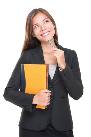 Real estate agent thinking. Business decision: woman making a choice on white background. Beautiful professional asian caucasian
