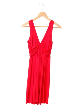 hanging woman: Red summer dress on hanger isolated on white background. Stock Photo