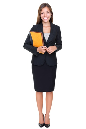 agents: Real estate agent businesswoman on white background. Asian business woman standing in full body.