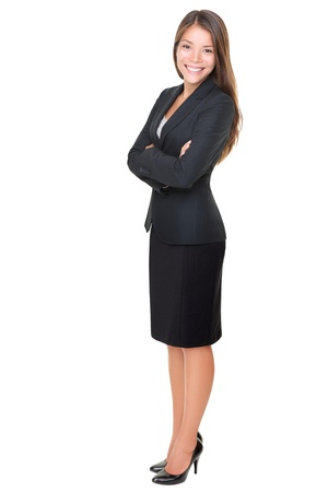 full length woman: Confident business woman standing full length in black suit. Businesswoman or real estate agent isolated on white background. Stock Photo