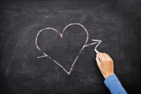 corazon dibujo: Coraz�n de pizarra - concepto de amor. Mano plano coraz�n con tiza en la pizarra.