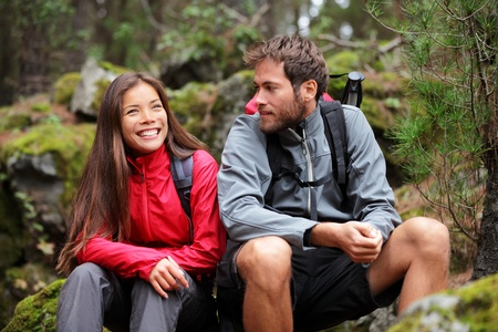 backpackers: Hiking couple. Young people hikers having fun outdoors in forest. From La Caldera, Aguamansa, La Orotava, Tenerife, The Canary Islands, Spain.