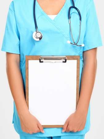 displays: Medical doctor or nurse holding clipboard sign showing room for copyspace