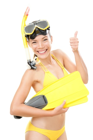 divers: Snorkeling holidays woman in bikini isolated in studio on white background. Beautiful young mixed race Asian Caucasian female model.