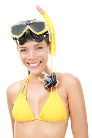 snorkel: Woman snorkeler with goggles, flippers and snorkel smiling in summer bikini. Snorkeling, swimming, vacation concept isolated on white background. Chinese Asian  Caucasian female model