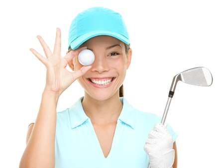 Golf fun. Happy woman golf player showing golf ball holding golf club. Funny cute image of Asian Caucasian female golf player isolated on white background. photo