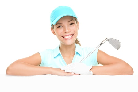 card player: Golf player woman sign. Female golf player showing empty blank white paper billboard. Mixed race Asian Caucasian woman isolated on white background