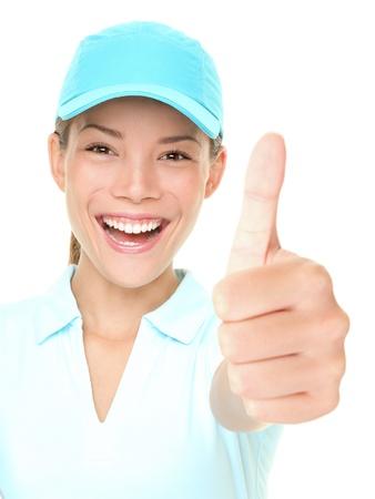 mujer deportista: Deportiva mujer feliz mostrando pulgares arriba éxito mano signo alegre vistiendo deportivo PAC. Foto fresca de Asia caucásica atleta femenina aislada sobre fondo blanco.