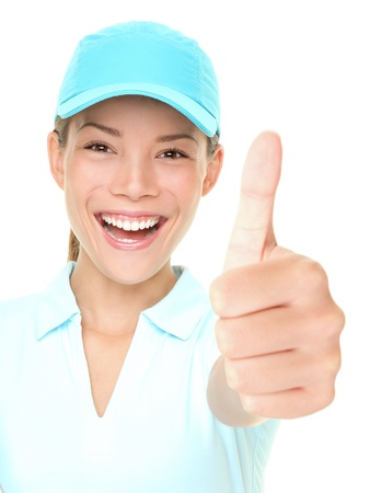 Sporty happy woman showing thumbs up success hand sign cheerful wearing sporty cap. Fresh photo of Asian Caucasian female athlete isolated on white background. Stock Photo - 10085480