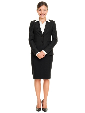 full length: Business people - business woman standing in full body smiling happy at camera isolated on white background