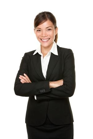 흰색 배경에 고립 multiracial 아시아  백인 비즈니스 여자의 행복 사업가 초상화를 웃고. 스톡 콘텐츠