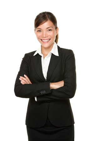 Smiling happy businesswoman portrait of multiracial Asian  Caucasian business woman isolated on white background. photo