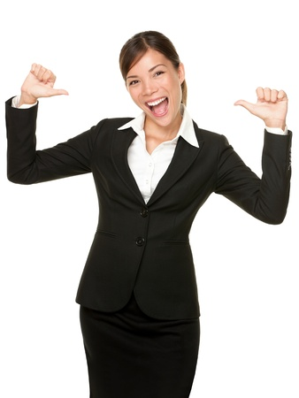 cheerful confident young business woman pointing at herself cheering happy. Beautiful mixed race Caucasian / Asian female model. Stock Photo - 10283046