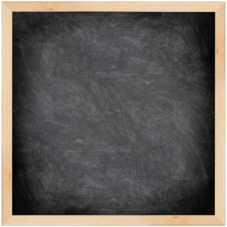 Chalkboard blackboard with frame isolated. Black chalk board texture empty blank with chalk traces and wooden frame. Square. photo